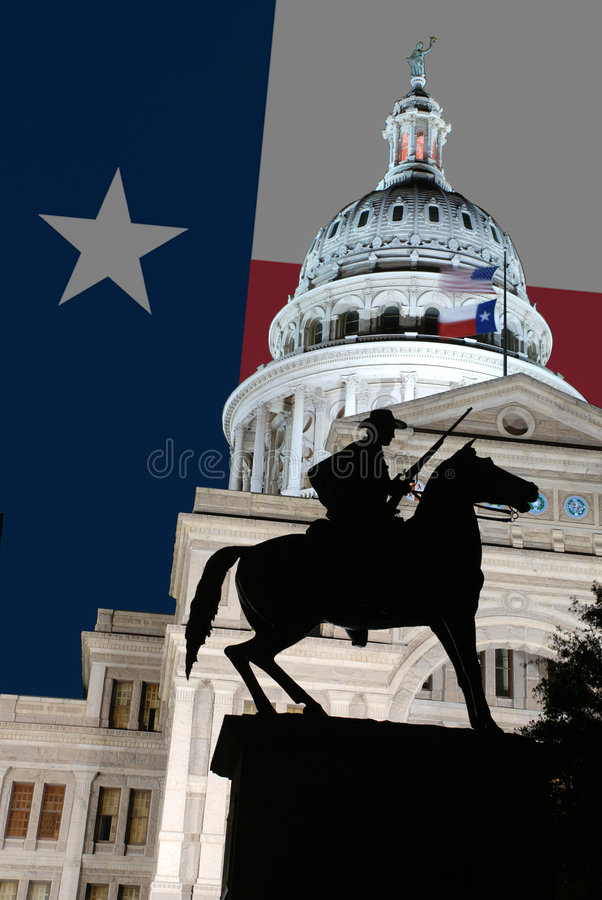 Texan Statue at Texas State Capitol Building. A statue of a war hero riding a horse in front of the Texas State Capitol Building in Austin, TX royalty free stock image