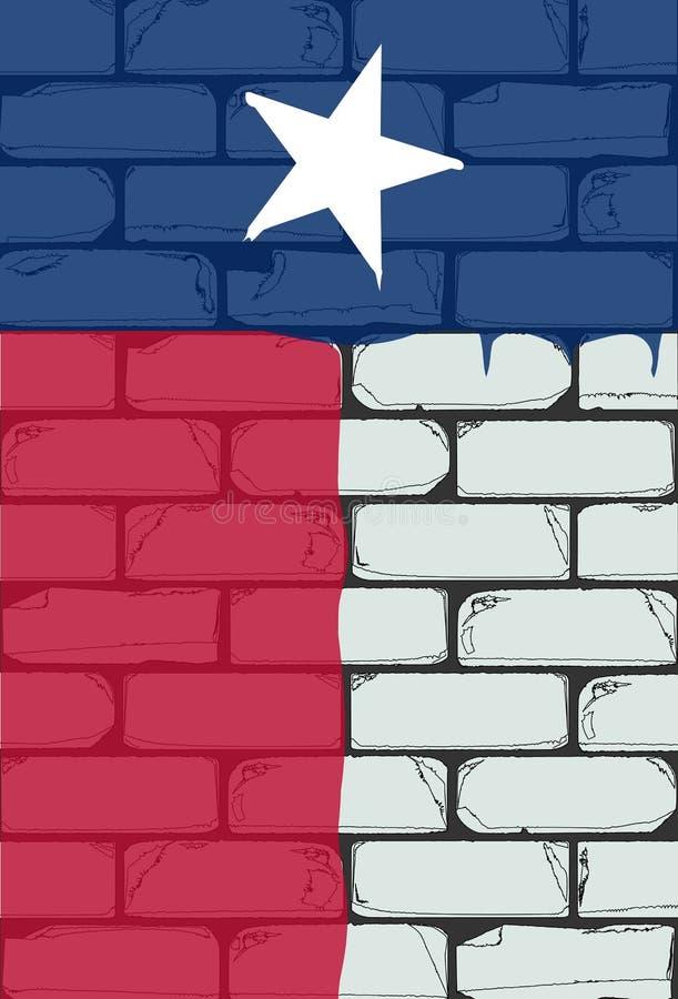 Texan Vlag die op een Bakstenen muur wordt geschilderd vector illustratie