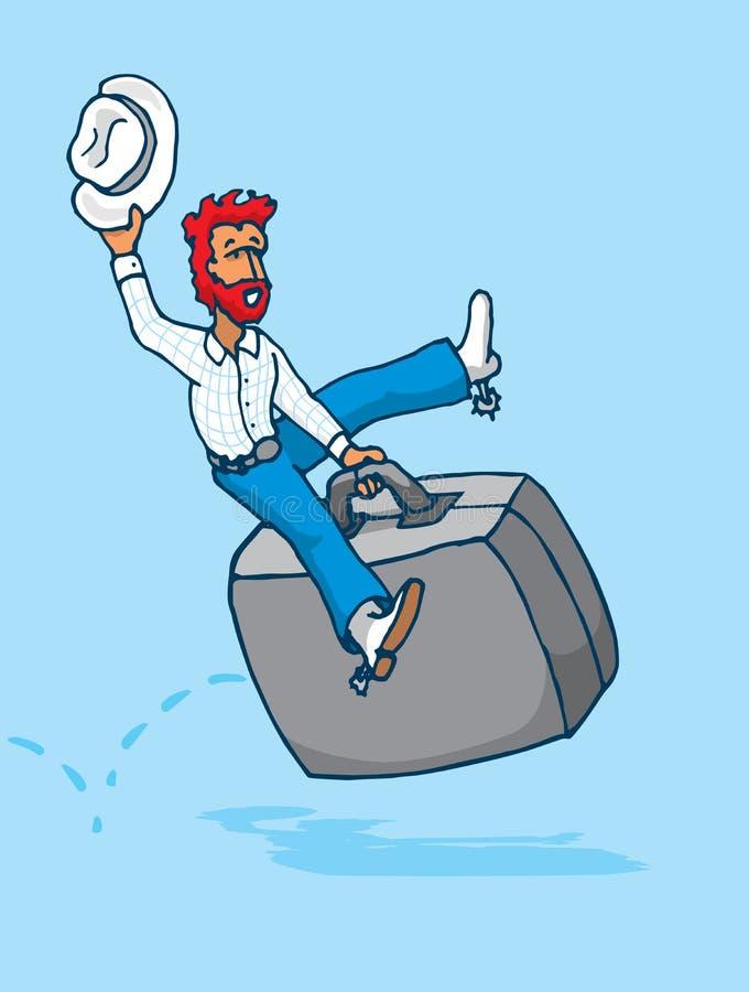 Texancowboy som rider en portfölj som hård affärsrodeo royaltyfri illustrationer