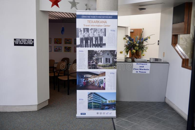 Texarkana Texas Welcome Center Exhibit. Texarkana is a city in Bowie County, Texas, United States, located in the Ark-La-Tex region. It is a twin city with royalty free stock photo
