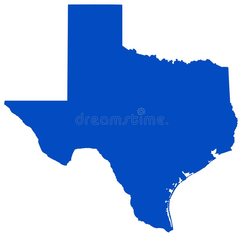 Texas översikt - andra - störst tillstånd i Förenta staterna stock illustrationer