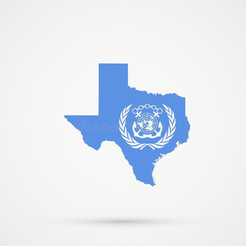 Texas översikt i internationella för IMO-flagga för maritim organisation färger, redigerbar vektor vektor illustrationer