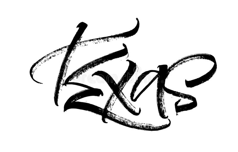 texas Современная литерность руки каллиграфии для печати Serigraphy иллюстрация штока