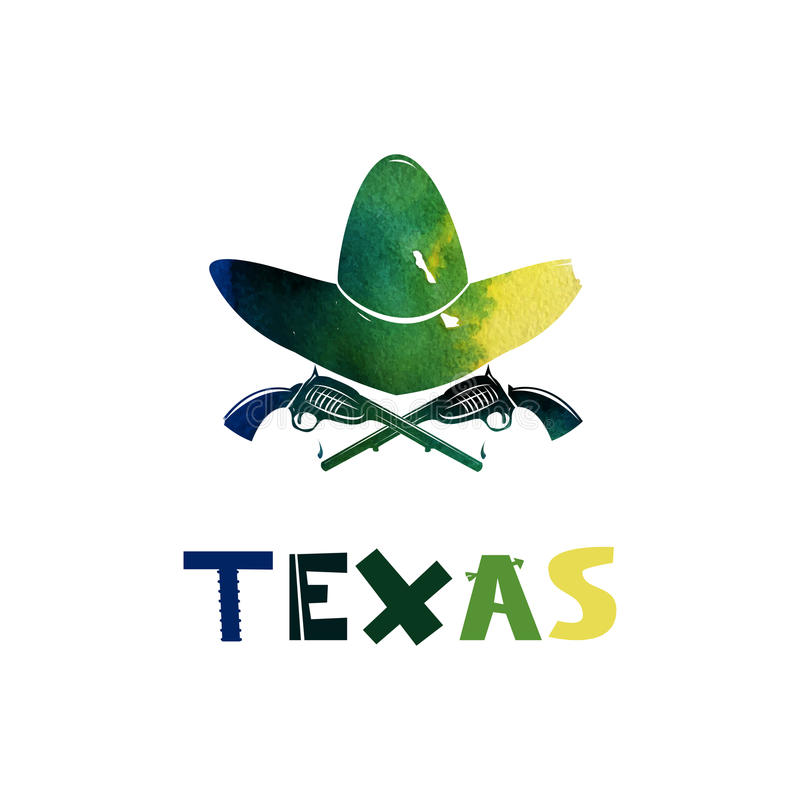 texas Akwarela kowbojski kapelusz i bronie Bronie palne kolt Symbol Dziki Zachodni Śliczny kreskówki literowanie mieszkanie ilustracji