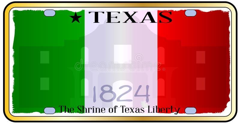 Texas Alamo License Plate stock de ilustración