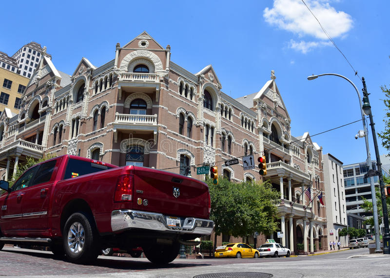 _ texas Amerika tillstånd förenade Augusti 2015 Sjätte gata f royaltyfria foton