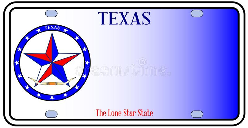 Texas Auto License Plate. Texas License Plate in red white and blue with Lone Star State text over a white background stock illustration