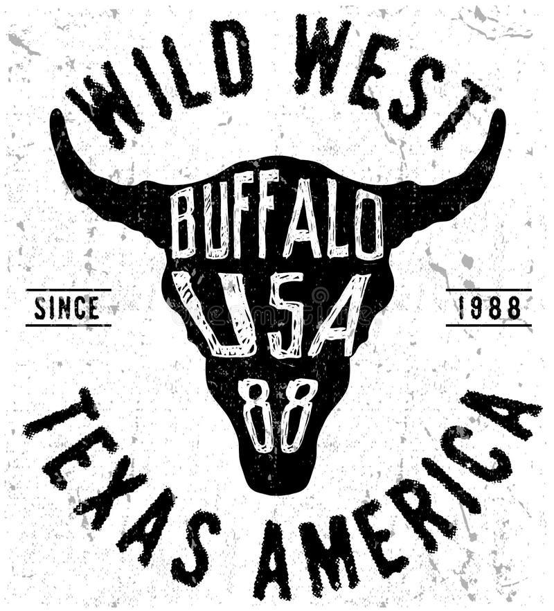 Texas-Büffelt-stück Druckgraphik lizenzfreie abbildung