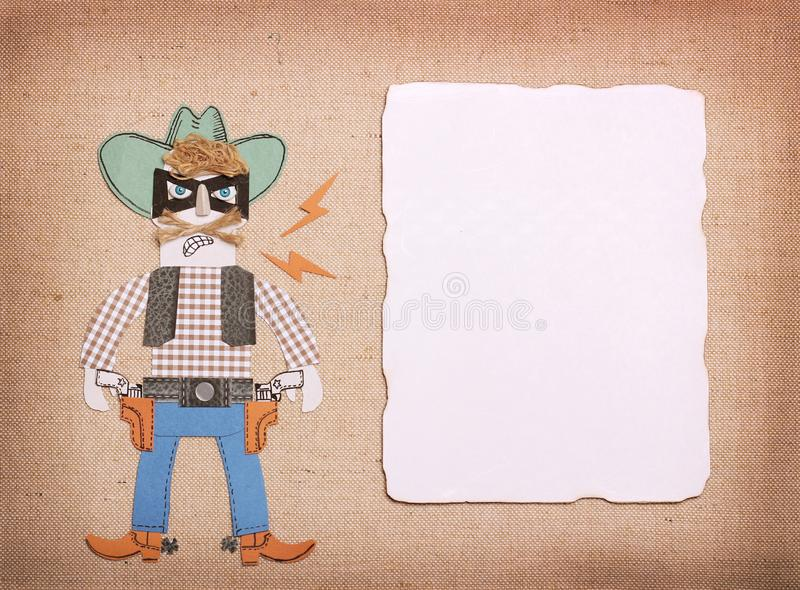 Texas bandit in cowboy clothes and black mask with guns.Paper cu. Bandit in cowboy clothes and black mask with guns.Paper cut application for text royalty free stock photo