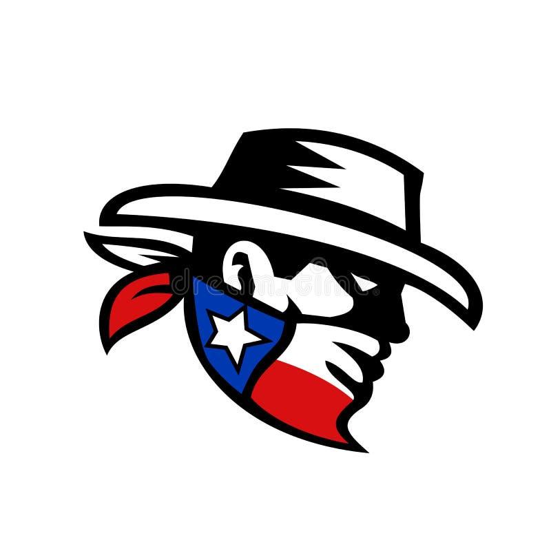 Texas Bandit Cowboy Side Retro stock illustrationer
