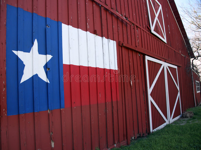 Texas Barn. View of front of an old barn with State Flag of Texas painted on it