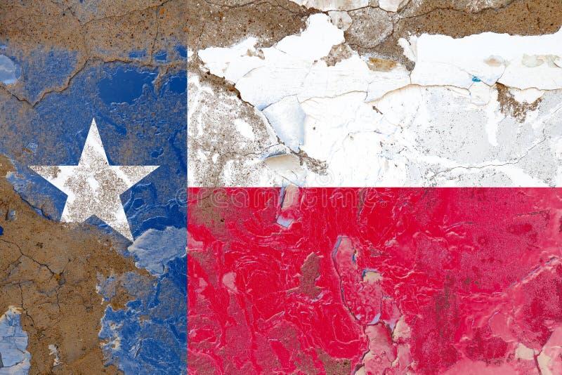 Texas is beschadigd, kras, oude stijl VS vlag op muur royalty-vrije stock foto's