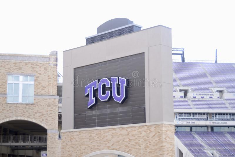 Texas Christian University Logo, Fort Worth, il Texas fotografie stock