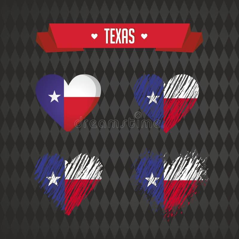 Texas Collection de quatre coeurs de vecteur avec le drapeau Silhouette de coeur illustration stock