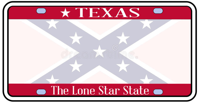 Texas Confederate Flag Plate stock illustratie