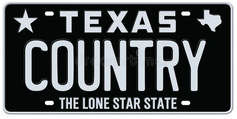 Texas Country Music License Plate. Black Classic the lone star state music festival art stock illustration