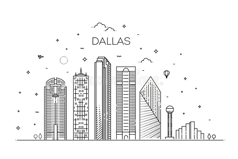 Texas Dallas architecture line skyline illustration. Linear vector cityscape with famous landmarks vector illustration