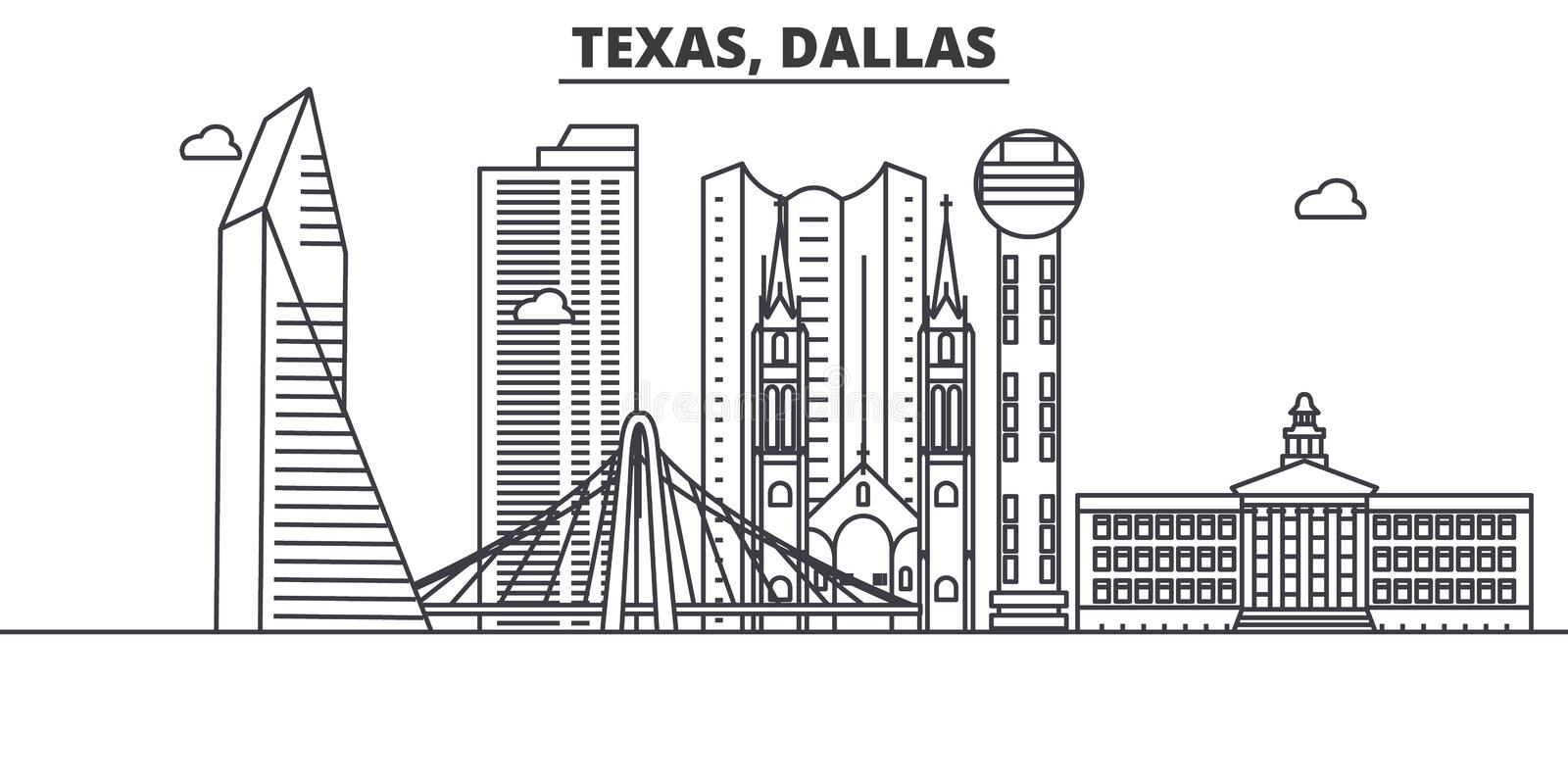 Texas Dallas architecture line skyline illustration. Linear vector cityscape with famous landmarks, city sights, design royalty free illustration
