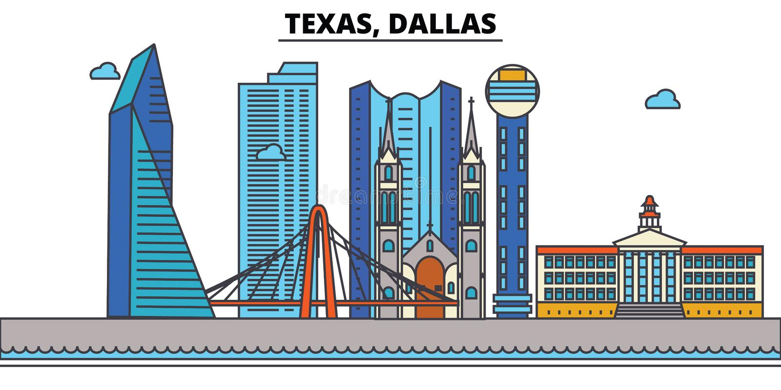 Texas, Dallas De Horizon van de stad vector illustratie