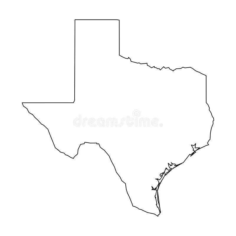 Texas, estado de EUA - mapa preto contínuo do esboço da área do país Ilustração lisa simples do vetor ilustração royalty free