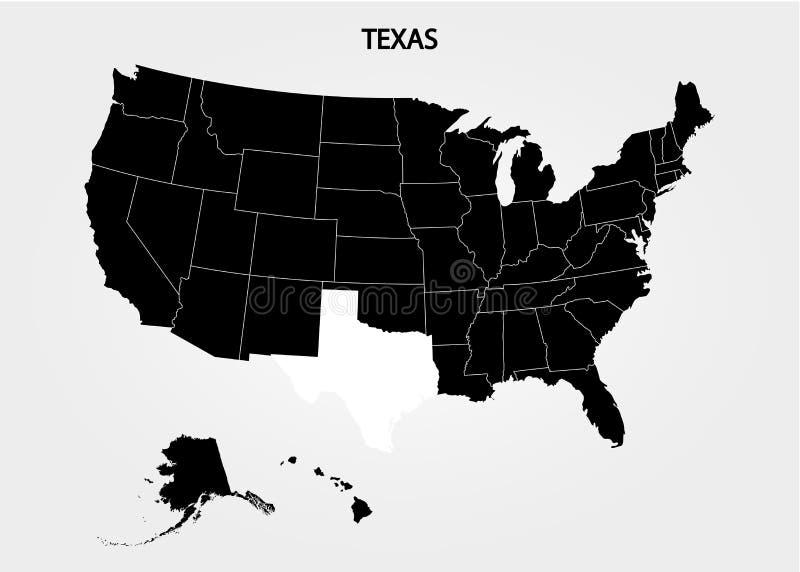 texas Estados de território de América no fundo cinzento Estado separado Ilustração do vetor ilustração stock