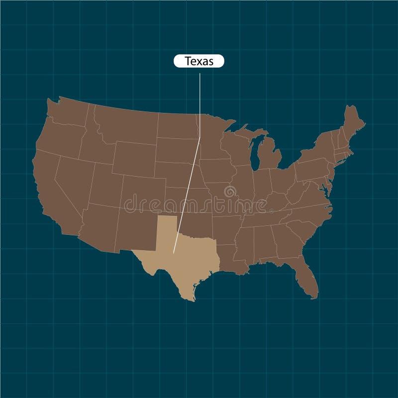 texas Estados de território de América no fundo escuro Estado separado Ilustração do vetor ilustração do vetor