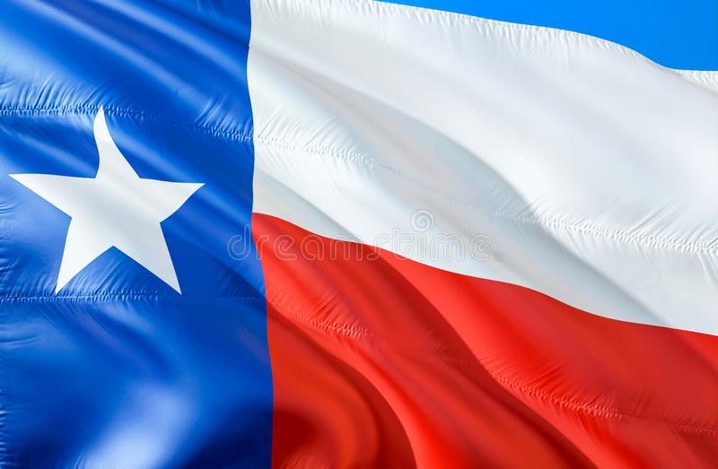 Texas flag. 3D Waving USA state flag design. The national US symbol of Texas state, 3D rendering. National colors and National. Flag of Texas for a background royalty free stock image