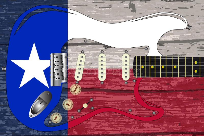 Texas Flag With Electric Guitar vector illustratie