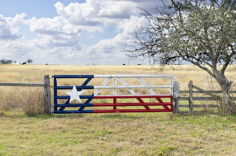 Painted Texas Flag on Cattle Gate royalty free stock photography