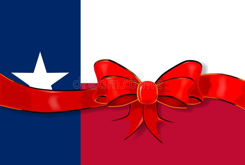 Texas Flag Ribbon royalty-vrije illustratie