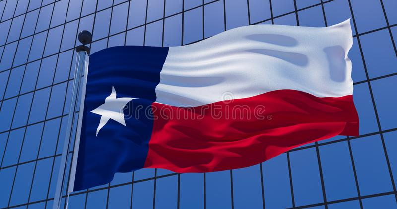 Texas-Flagge auf Wolkenkratzergebäudehintergrund Abbildung 3D vektor abbildung
