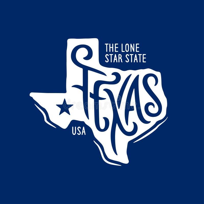 Texas gällde t-skjorta design det ensamma stjärnatillståndet Tappningvektorillustration stock illustrationer