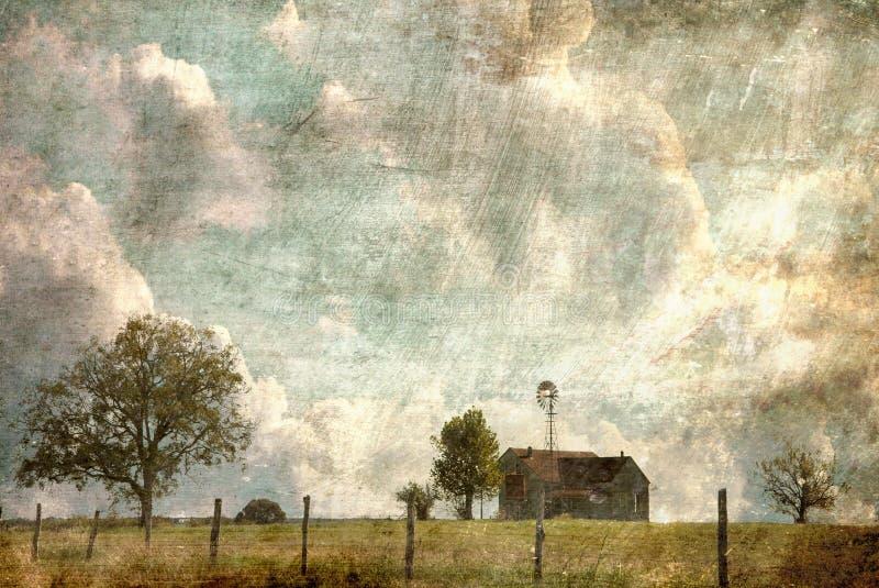 Texas Hill Country Farm House con il recinto Line del filo spinato illustrazione vettoriale