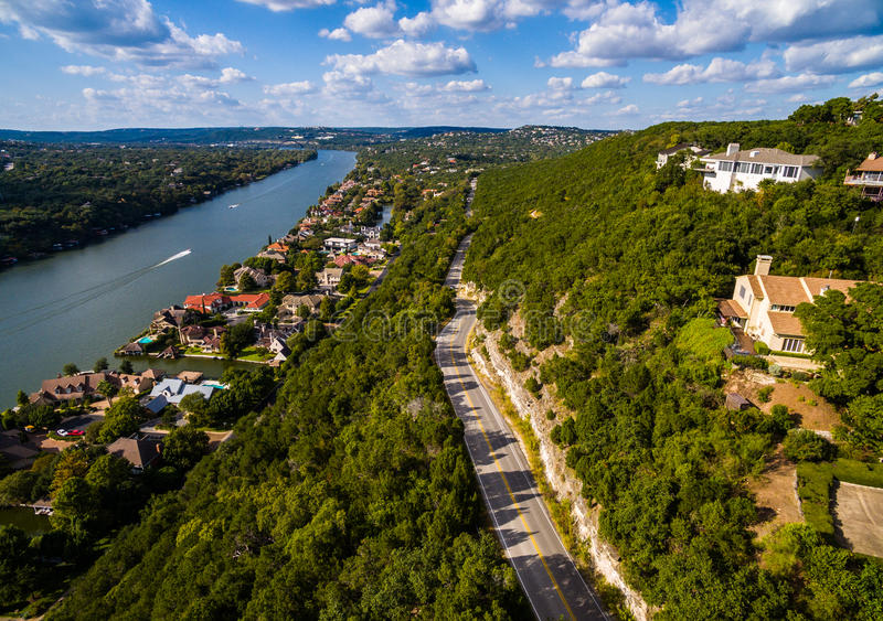 Texas Hill Country Mount Bonnell-Straße zu Texas Aerial über Austin stockfotos