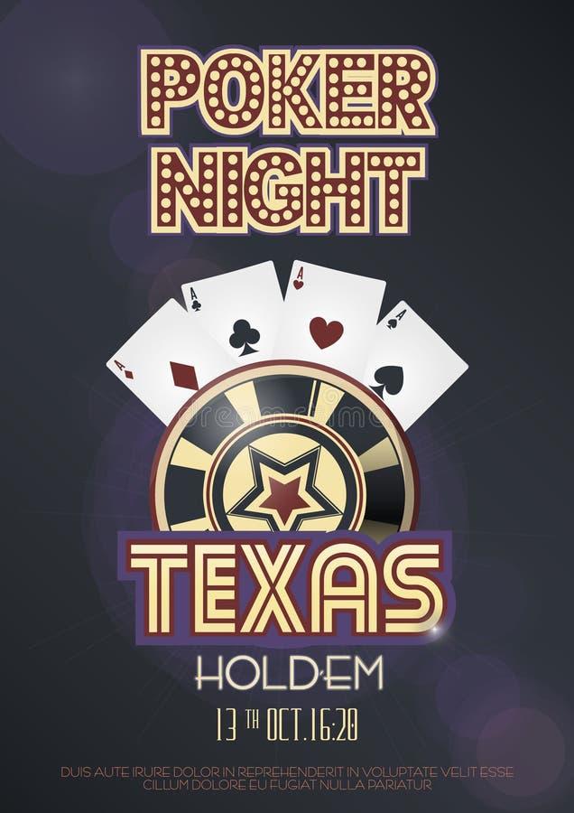 Texas Hold dem affisch för pokernattinbjudan eller banermall royaltyfri illustrationer