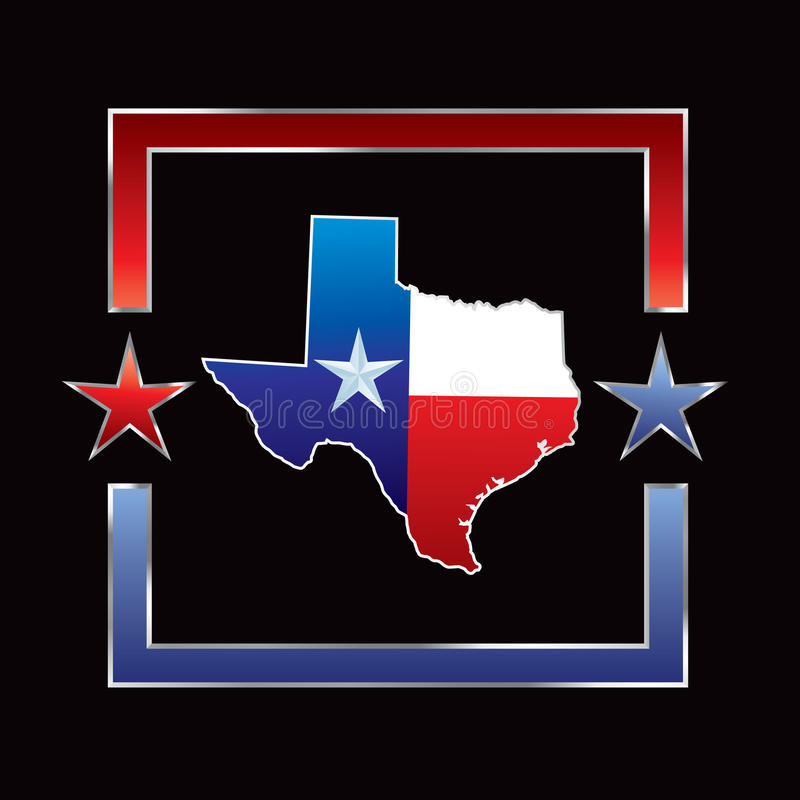Texas icon in red and blue star frame stock illustration