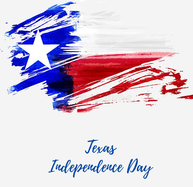 Texas Independence Day holiday. Grunge flag of Texas - Lone Star. Template for holiday background, banner, invitation, poster, etc stock illustration