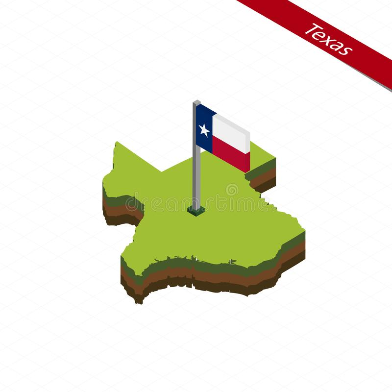 Texas Isometric map and flag. Vector Illustration. Isometric map and flag of Texas. 3D isometric shape of Texas State. Vector Illustration royalty free illustration