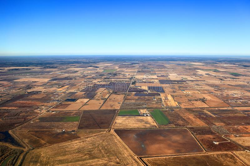 Texas Landscape Aerial View - USA. Aerial View of Texas Landscape with rural farmland and fields royalty free stock images