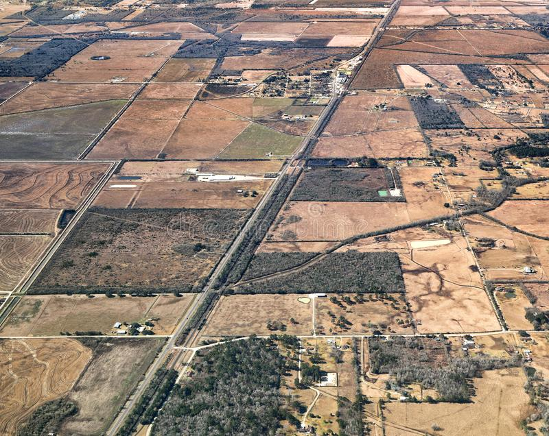Texas Landscape Aerial View - USA. Aerial View of Texas Landscape with rural farmland and fields stock photography