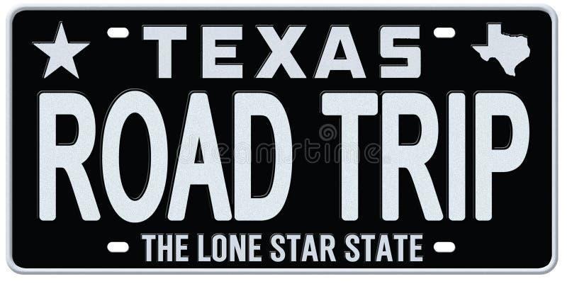 Texas License Plate Road Trip tappning vektor illustrationer
