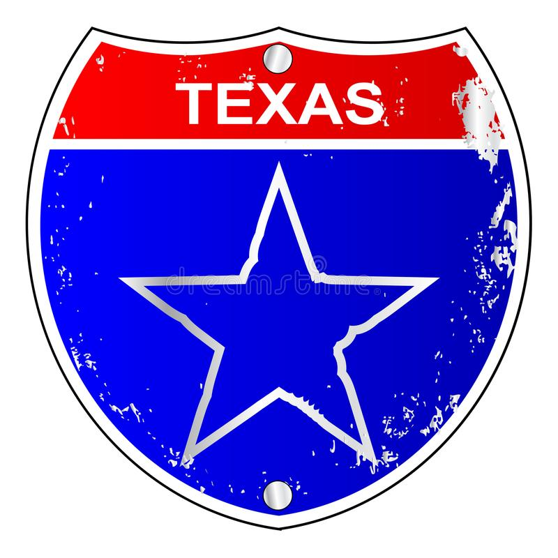 Texas Lone Star Interstate Sign illustrazione di stock