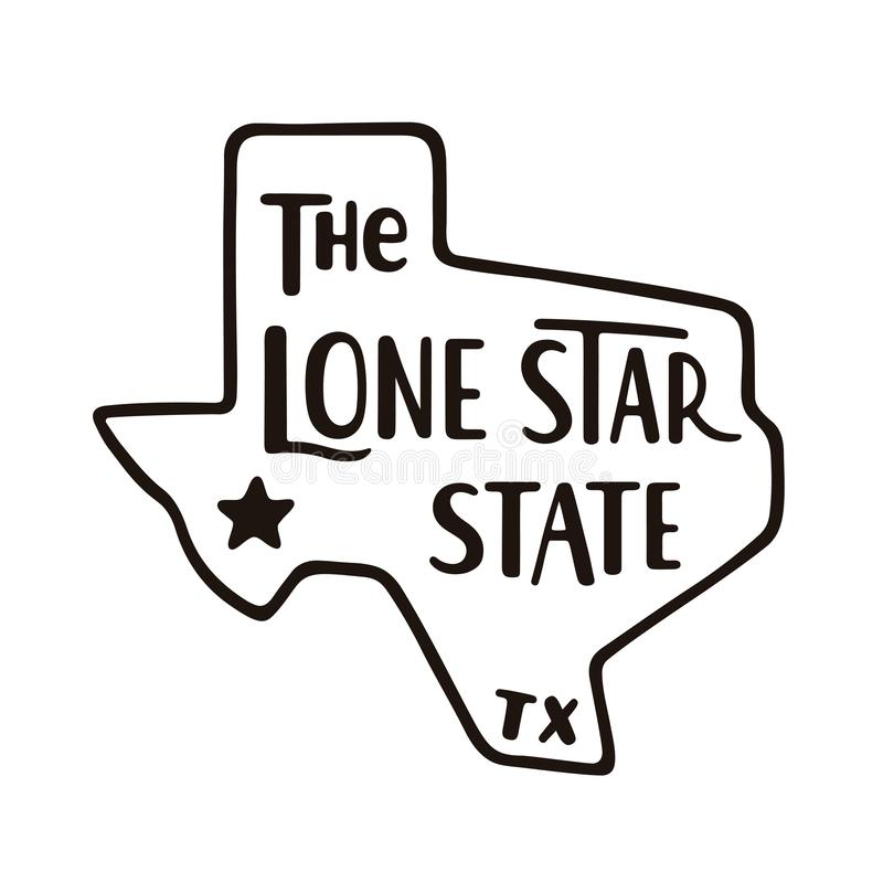Texas, the Lone Star state. Hand drawn lettering on Texas map silhouette. Vintage black and white vector illustration royalty free illustration