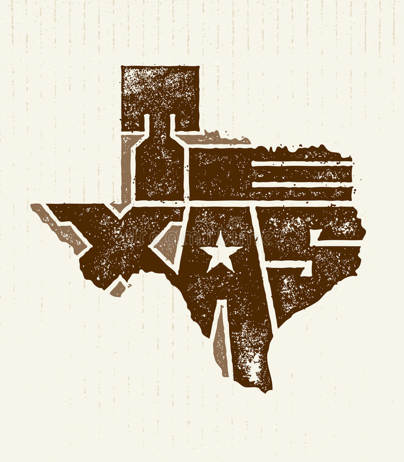 Texas The Lone Star USA State Creative Vector Concept On Natural Paper Background.  stock illustration