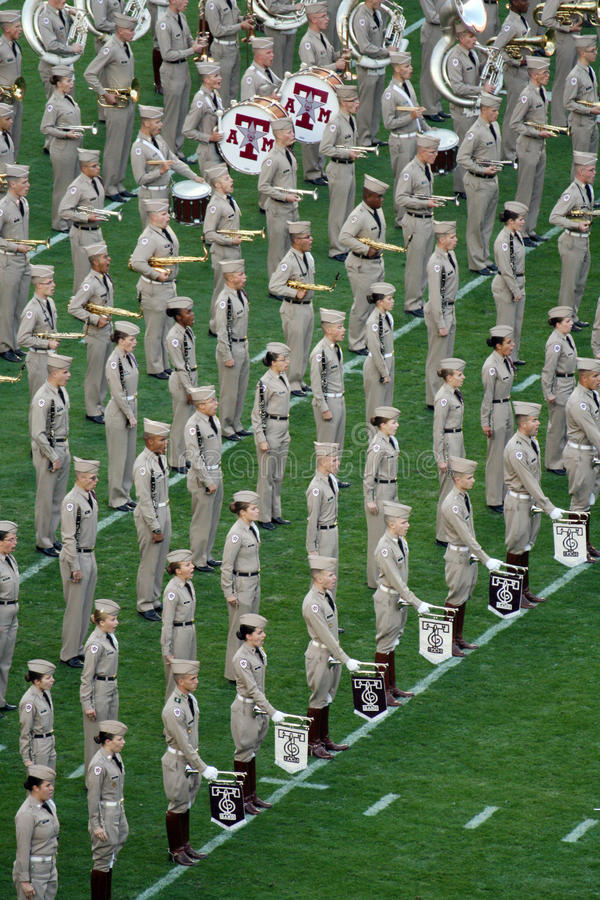 Texas A&M Fightin ' Texas Aggie Band royaltyfri foto