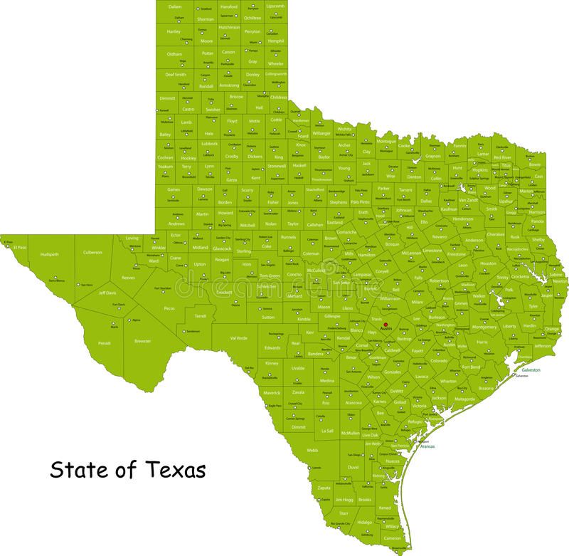 Texas map. Illustrated design of the map of Texas (USA), including counties and county seats. Isolated against a white background