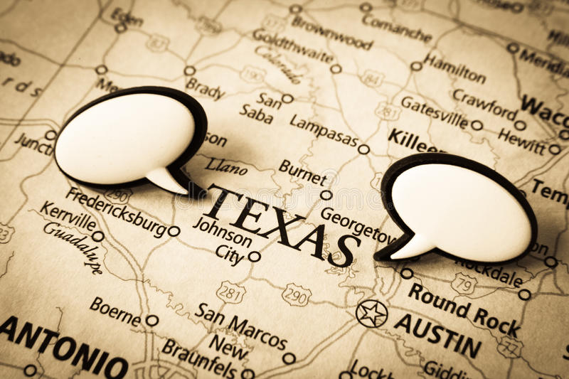 Texas map. Image of old vintage map with word bubble for text. Main focus on Texas stock photo