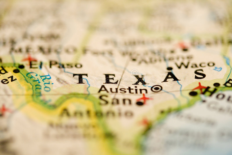 Texas Map. Close-up of Texas Map showing the capital as well royalty free stock photos