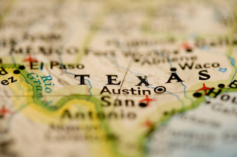 Texas Map. Map of Texas in Close up with blur stock images