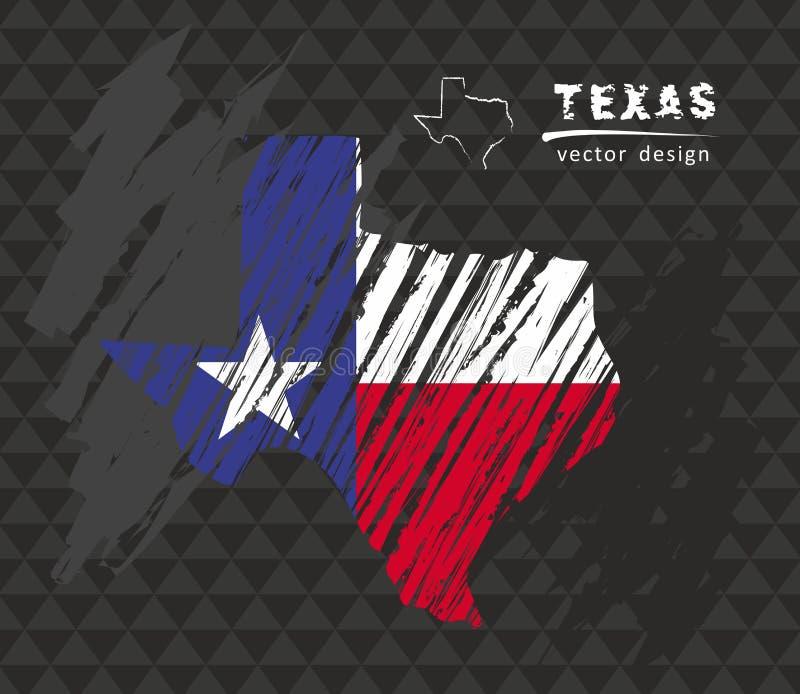 Texas map with flag inside on the blackboard. Chalk sketch vector illustration. Vector sketch map of Texas with flag, hand drawn chalk illustration. Grunge royalty free illustration
